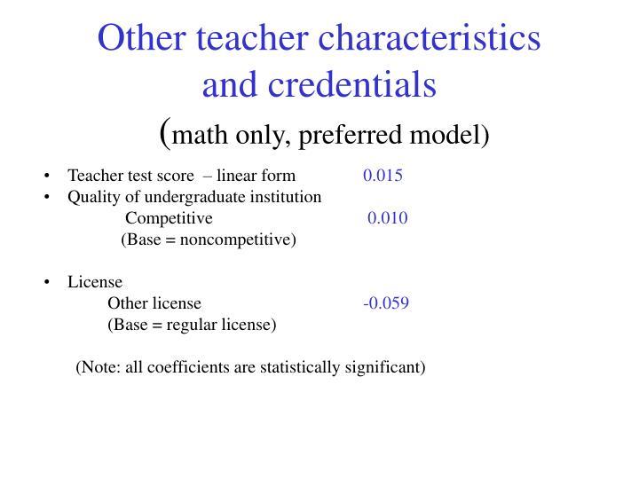 Other teacher characteristics