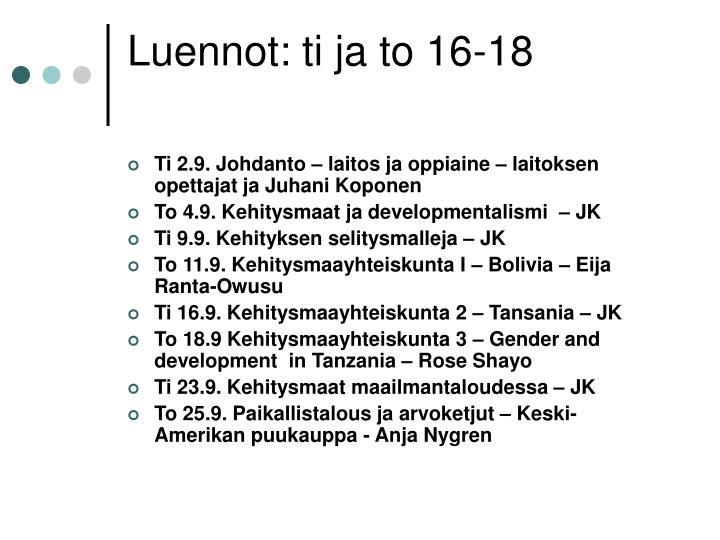 Luennot: ti ja to 16-18