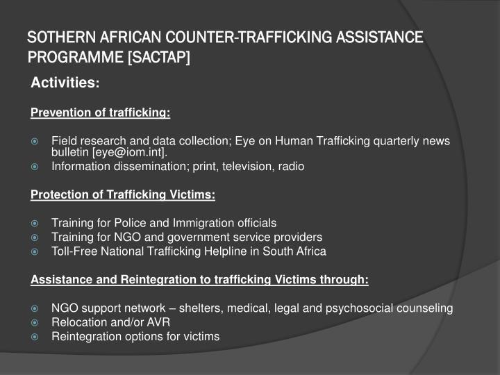 Sothern african counter trafficking assistance programme sactap