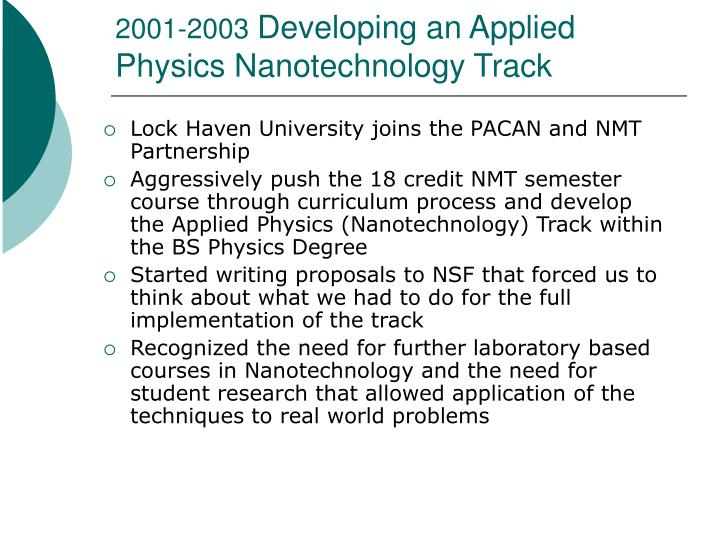 2001 2003 developing an applied physics nanotechnology track