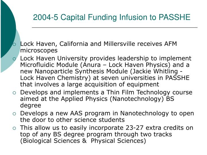 2004-5 Capital Funding Infusion to PASSHE