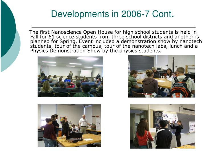 Developments in 2006-7 Cont
