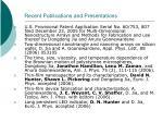 recent publications and presentations