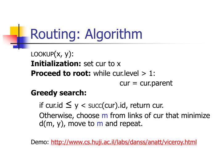 Routing: Algorithm