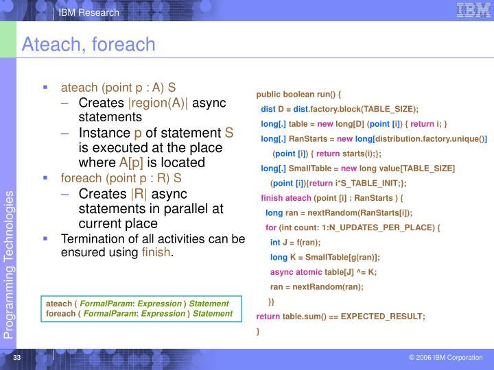 ateach (point p : A) S