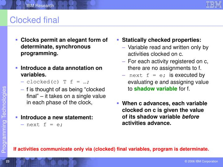 Clocks permit an elegant form of determinate, synchronous programming.