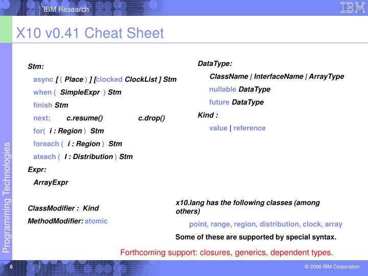 X10 v0.41 Cheat Sheet