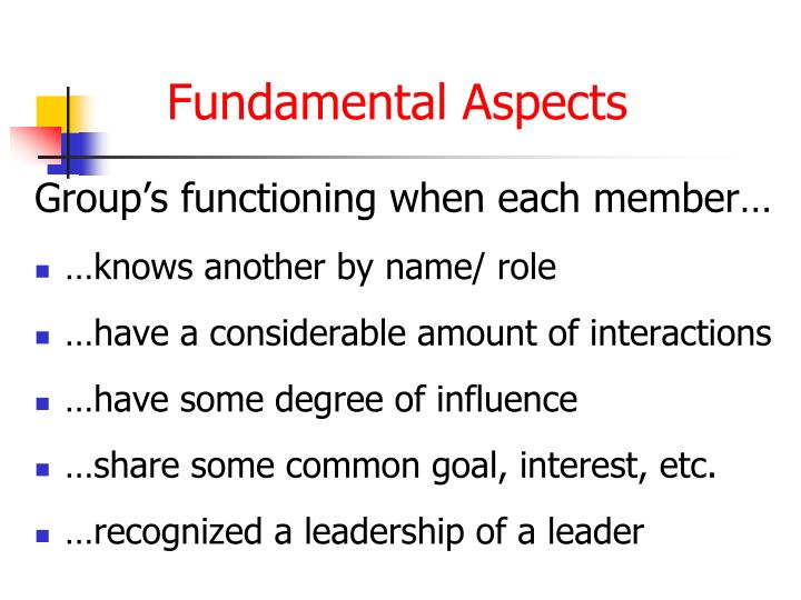 Group's functioning when each member…