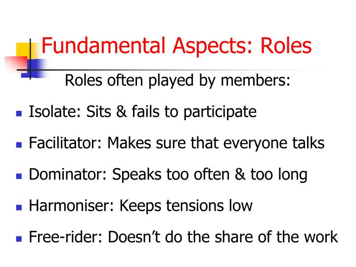 Roles often played by members: