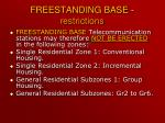 freestanding base restrictions