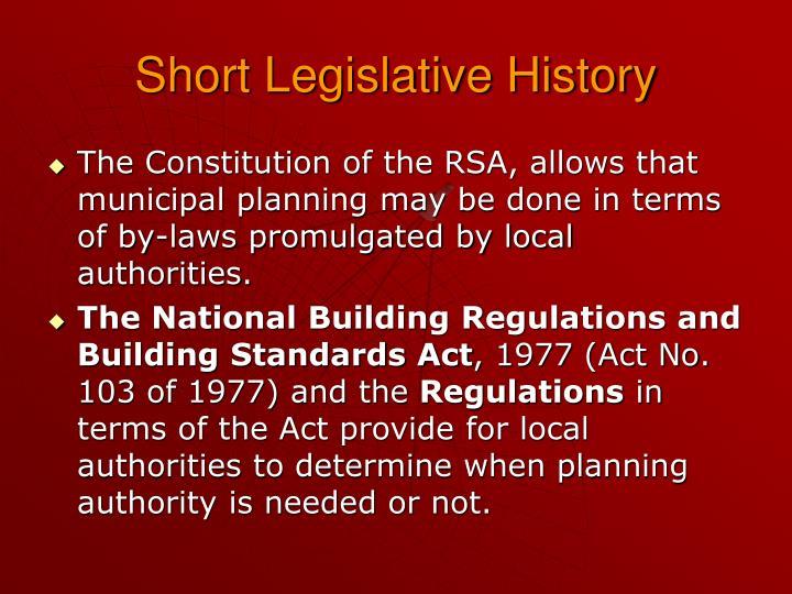 Short Legislative History