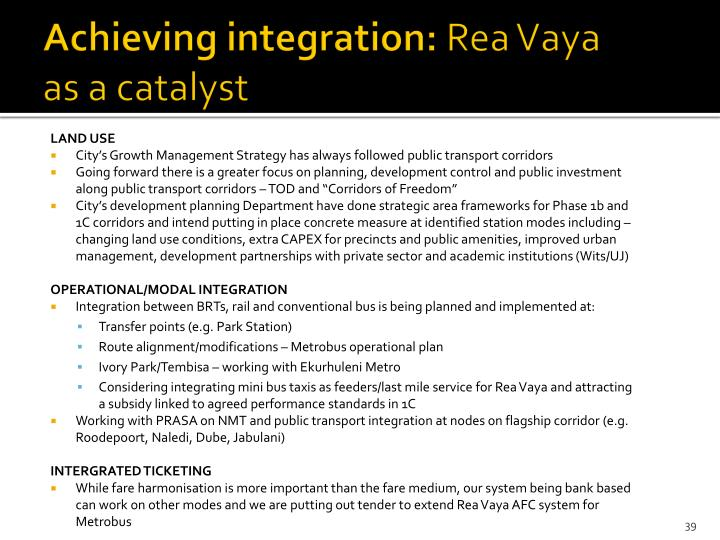 Achieving integration: