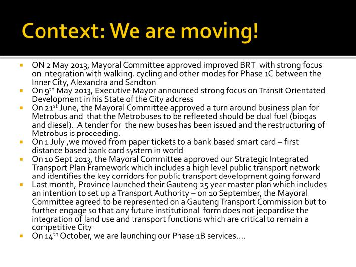 Context: We are moving!