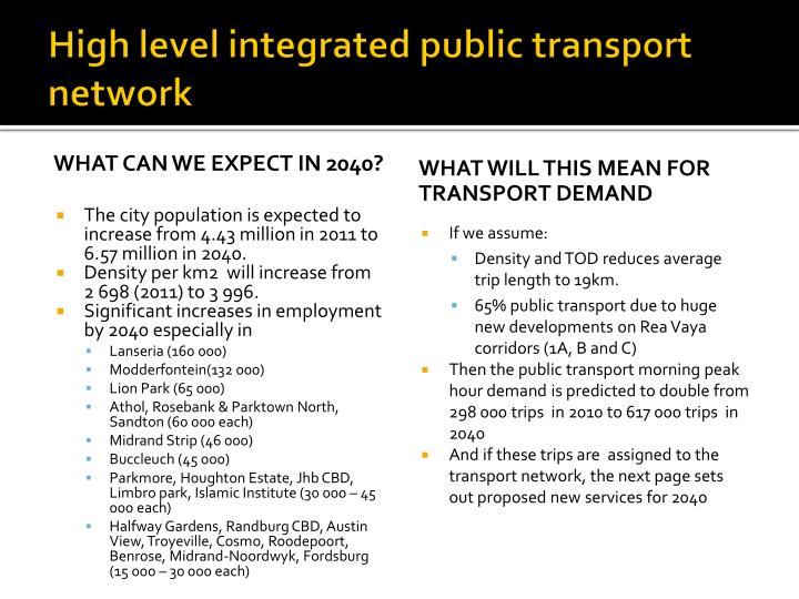 High level integrated public transport network