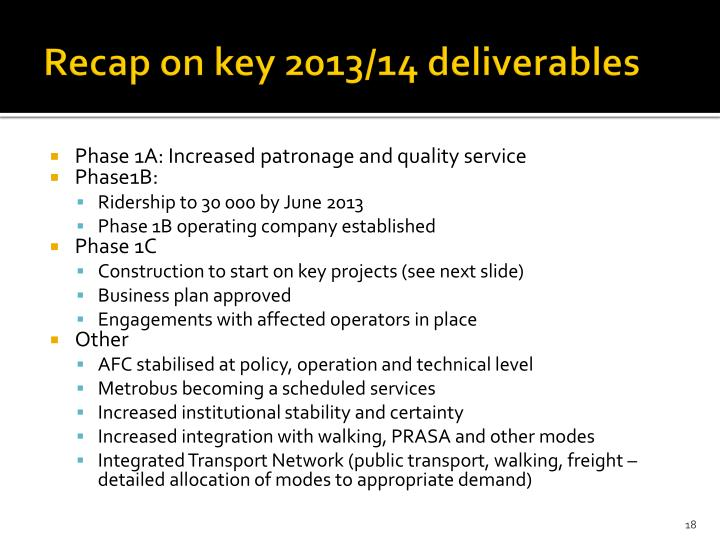Recap on key 2013/14 deliverables