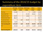 summary of the 2014 15 budget by expenditure item
