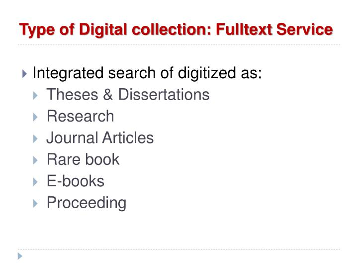 Type of Digital collection: