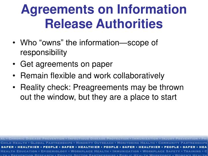 Agreements on Information Release Authorities