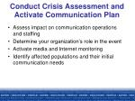 conduct crisis assessment and activate communication plan