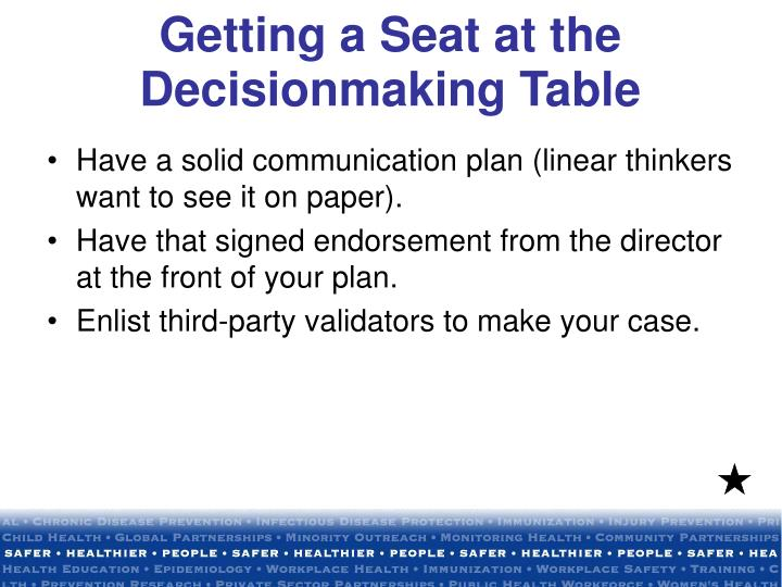Getting a Seat at the Decisionmaking Table