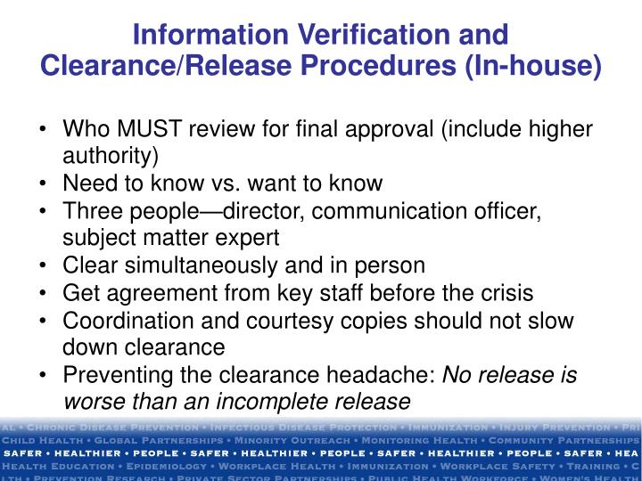 Information Verification and Clearance/Release Procedures (In-house)