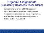 organize assignments constantly reassess these steps