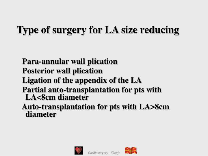 Type of surgery for LA size reducing