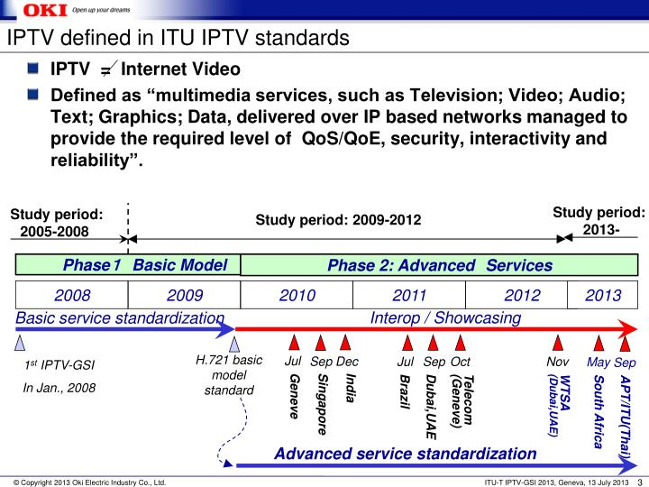 IPTV defined in ITU IPTV standards