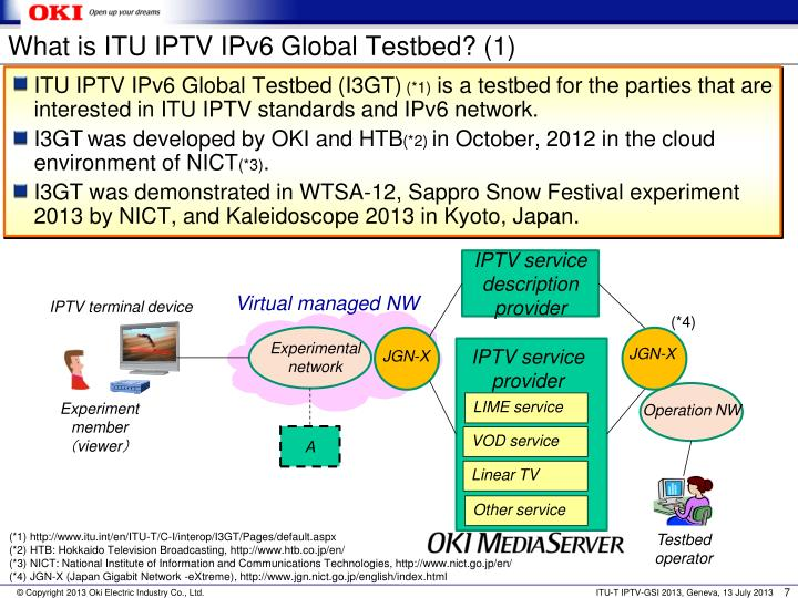 What is ITU IPTV IPv6 Global Testbed? (1)