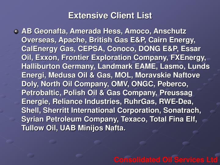 Extensive Client List