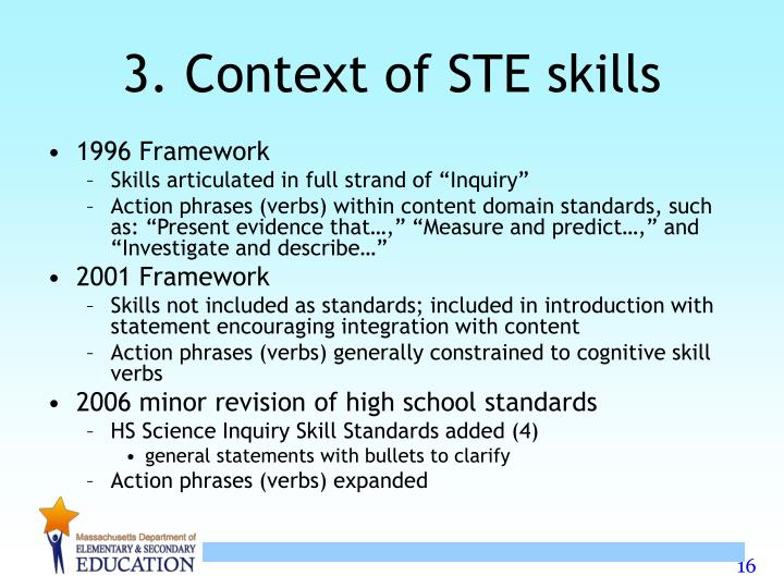 3. Context of STE skills