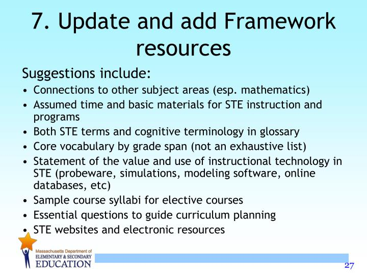7. Update and add Framework resources