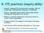 b ste practices inquiry skills