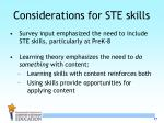 considerations for ste skills