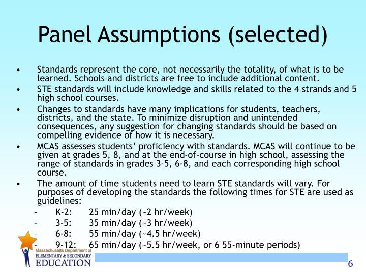 Panel Assumptions (selected)
