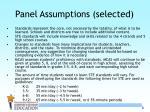 panel assumptions selected
