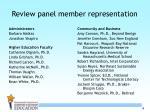 review panel member representation1