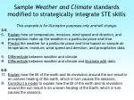 sample weather and climate standards modified to strategically integrate ste skills