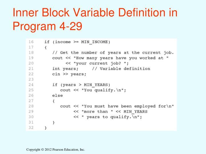 Inner Block Variable Definition in Program 4-29
