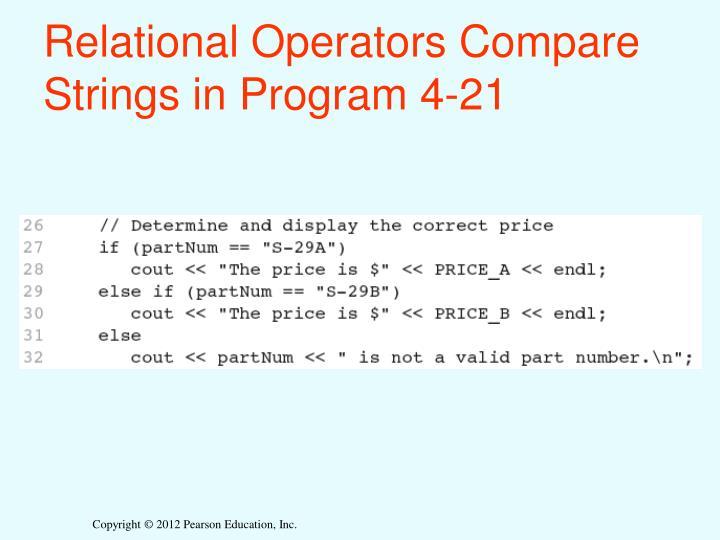 Relational Operators Compare Strings in Program 4-21
