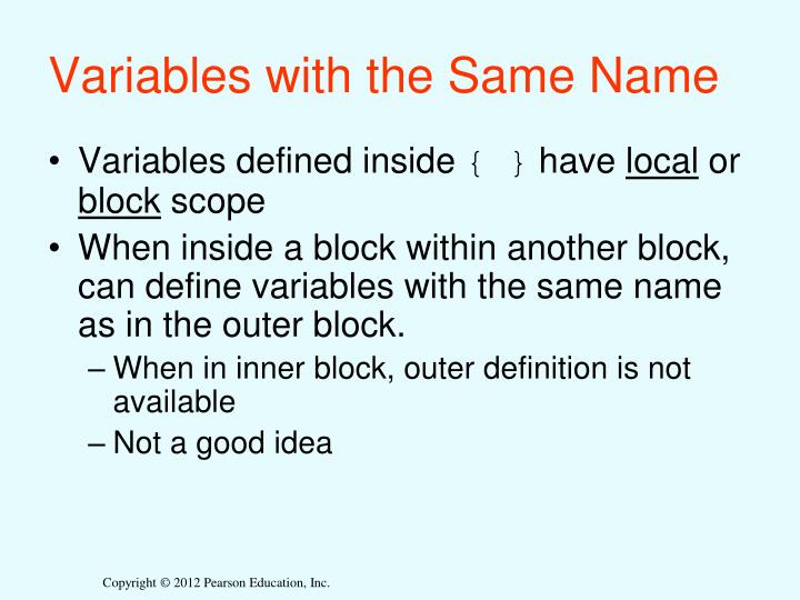 Variables with the Same Name