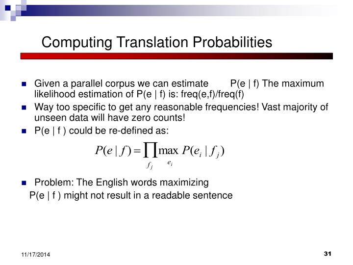 Computing Translation Probabilities