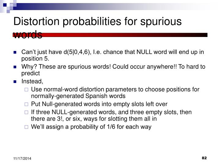 Distortion probabilities for spurious words