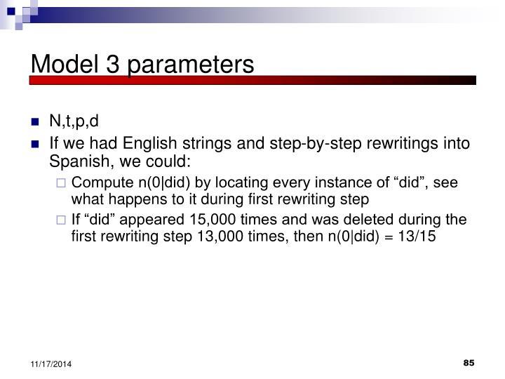 Model 3 parameters