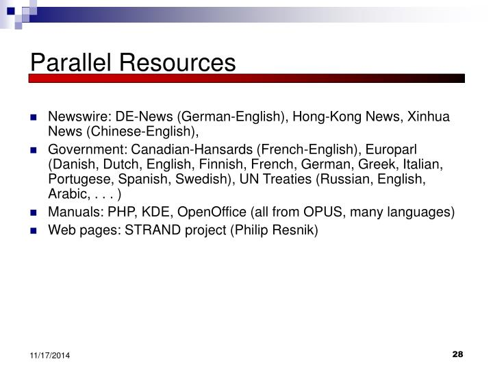 Parallel Resources
