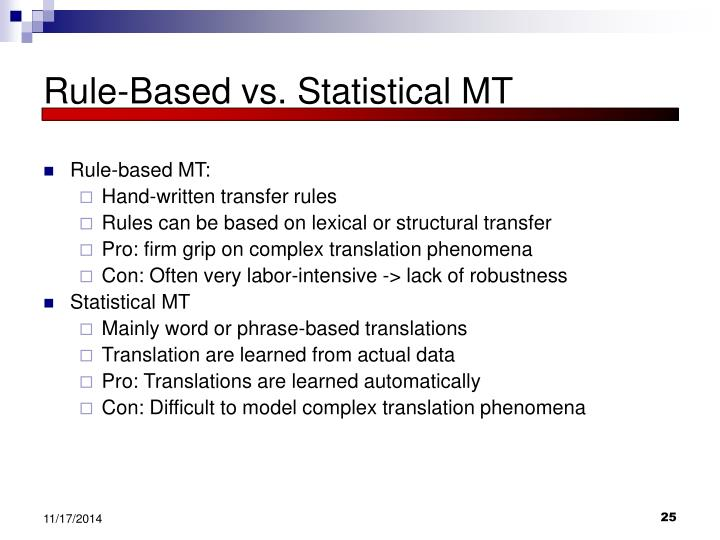 Rule-Based vs. Statistical MT