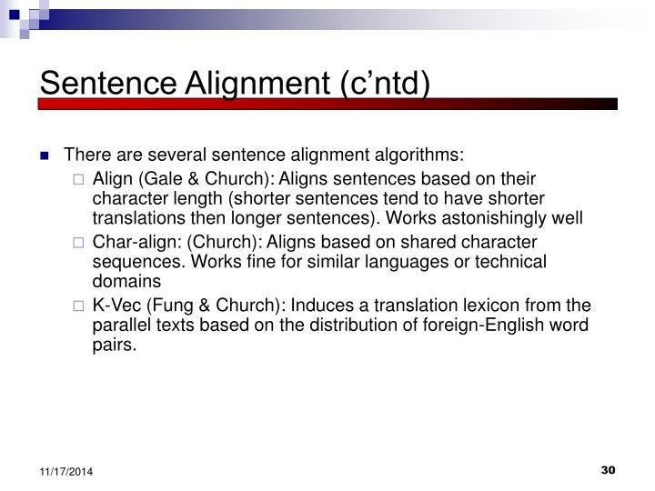 Sentence Alignment (c'ntd)