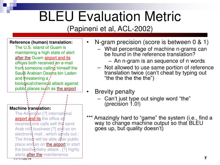 BLEU Evaluation Metric