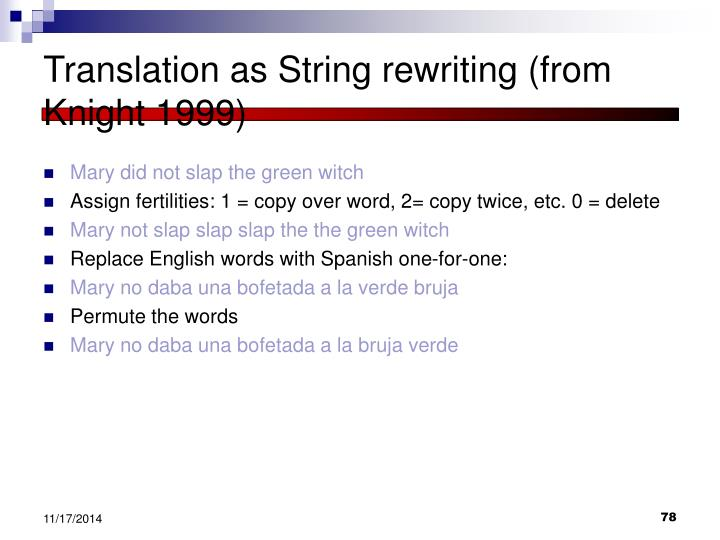 Translation as String rewriting (from Knight 1999)
