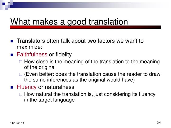 What makes a good translation